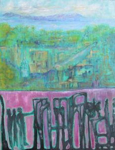 Oil painting of graffittied wall and townscape river and mountains