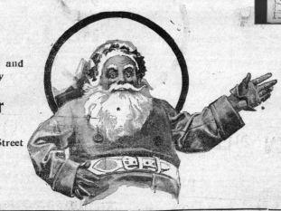 Newspaper clipping of pop-eyed Santa