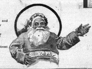 Newspaper clipping of pop-eyed Santa