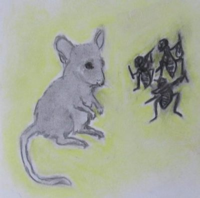 pastel drawing mouse and fiddling crickets art for poem Brother Mouse