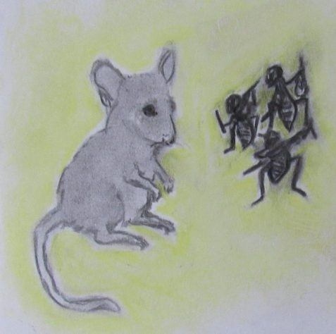 Charcoal and pastel drawing of mouse and cricket fiddlers