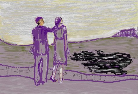 Digital painting of young couple spectating at plane crash site