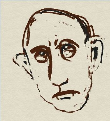 Digital drawing of egotistical male face
