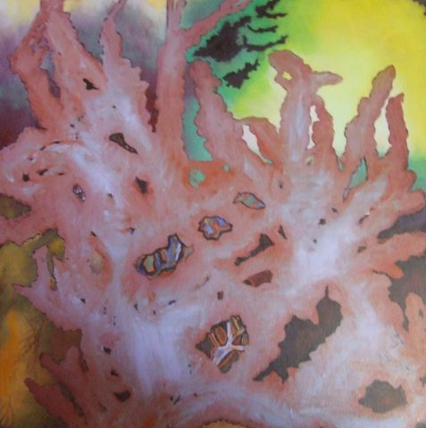 OIl painting of coral-like form feeling horrified