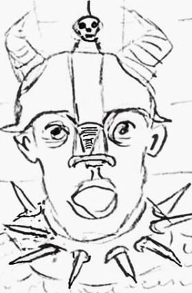 Cartoon of Visigoth in skull-topped helmet