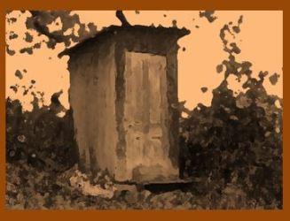 Stylized photo of outhouse
