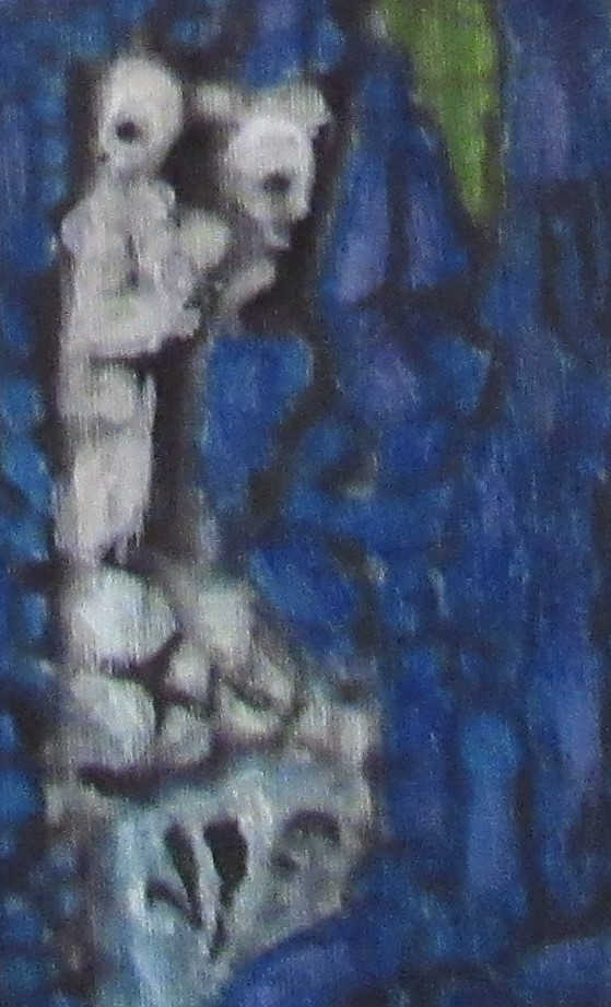 OIl painting cameo of wary white figures in cave