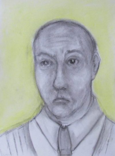 Charcoal and pastel drawing man feeling mournful