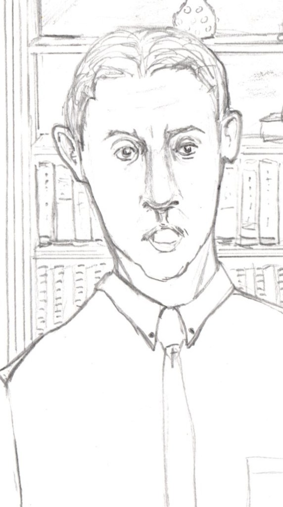 Cartoon of man in front of bookcase