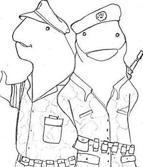 Cartoon of whale militants