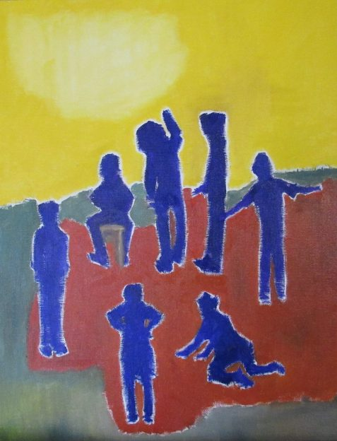 Oil painting of blue figures bright sunset