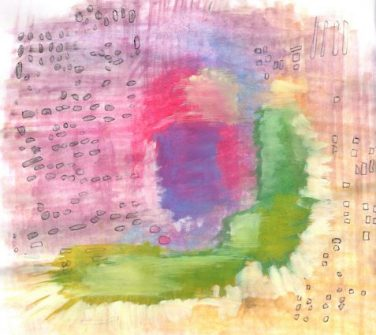 Watercolor painting of abstract landscape art for poem Omnibus