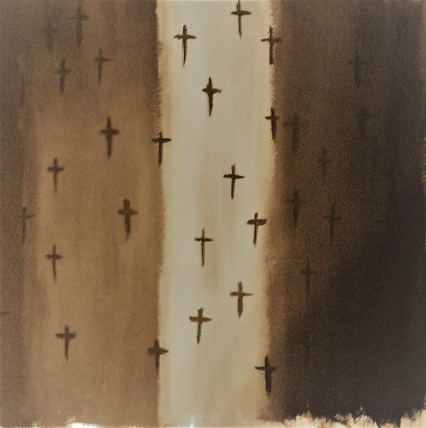Stylized acrylic painting of sepia-toned flag with crosses