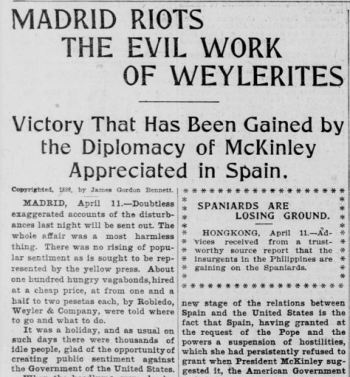 Newspaper clipping describes rumors of mercenary rioters in Spanish-American war