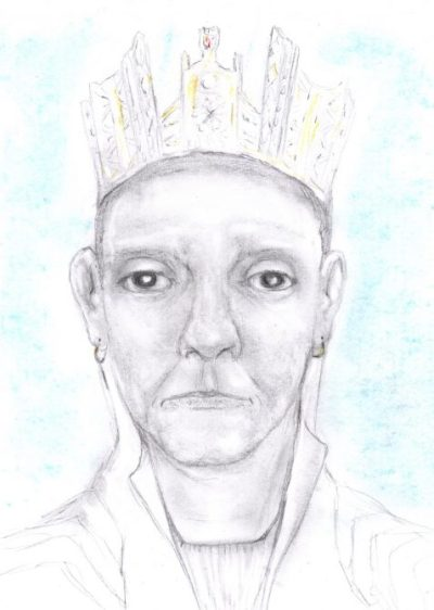 Pencil drawing of middle-aged early medieval queen
