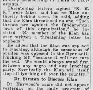 Newspaper clipping of fake letters to stir Klan controversy