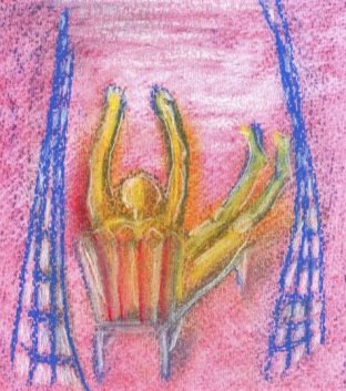 pastel drawing body stiffening in beach-lounger art for poem Boat Rentals