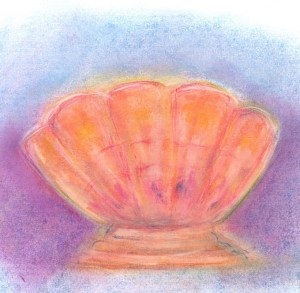 pastel drawing of carnival glass rose bowl art for poem The Marigold Bowl