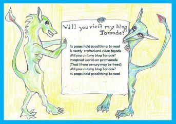 Cartoon with triolet poem touting blog Torsade