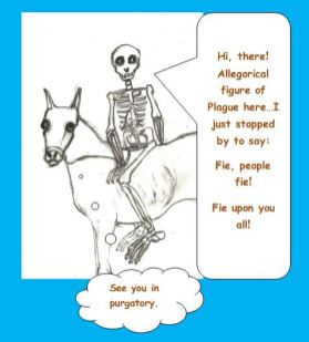 Cartoon of allegorical figure of plague