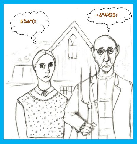 Cartoon of American Gothic father and daughter cursing