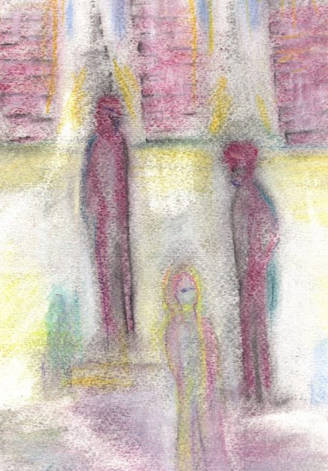 Uncollected Poems pastel drawing of three figures under a bridge art for poem Episodes