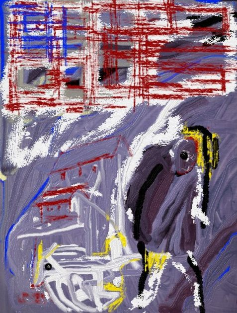 Digital painting of graffitti-style American flag and hunched figure