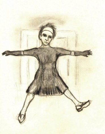 charcoal drawing falling woman feeling resigned to fate art for poem Demimonde