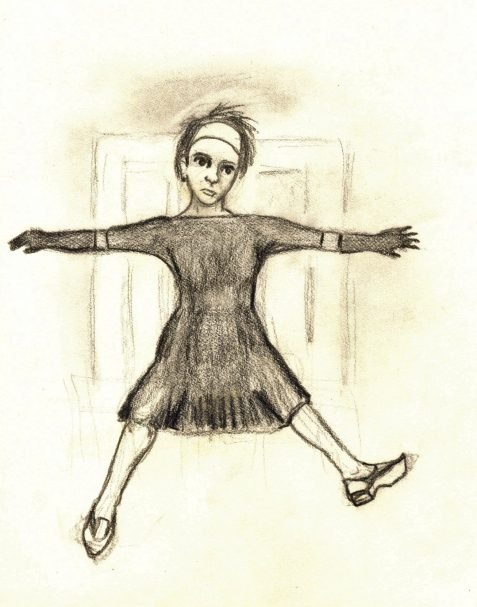Pencil drawing of woman falling through stairwell