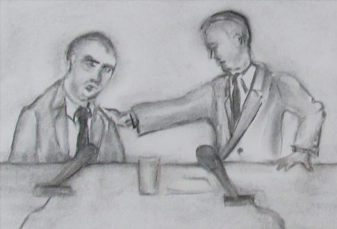Charcoal drawing of McCarthy hearing lawyer and client