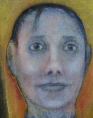 Oil painting of woman's head
