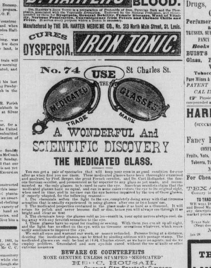 Newspaper clipping for medicated glasses