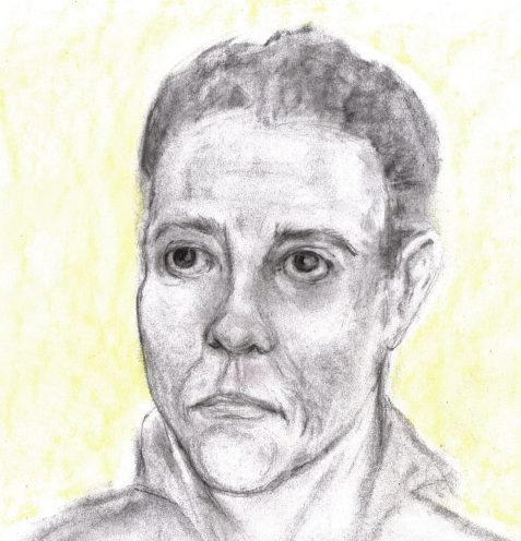 Charcoal and pastel drawing of angry-faced man