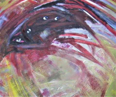 oil painting angry eyes peer from abstract swirls art for poem Giddy