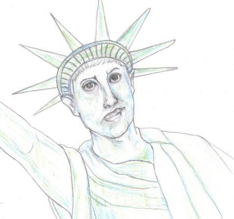 pencil drawing Lady Liberty sneers at present conditions art for poem The New Bogossus