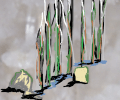 Digital painting of rocks and trees superimposed on photo
