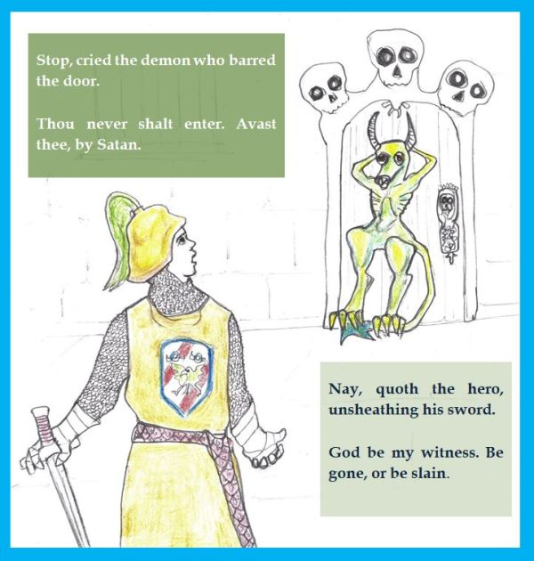 Cartoon of bored exchange between knight and demon