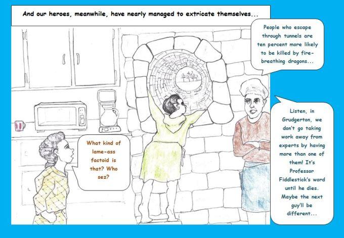 Cartoon of tunnel in Grudgerton factory kitchen