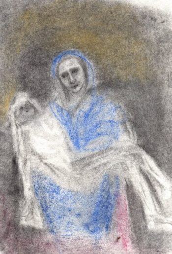 Uncollected Poems pastel sketch taking off on Pieta theme art for poem Friendly Maude McKinley