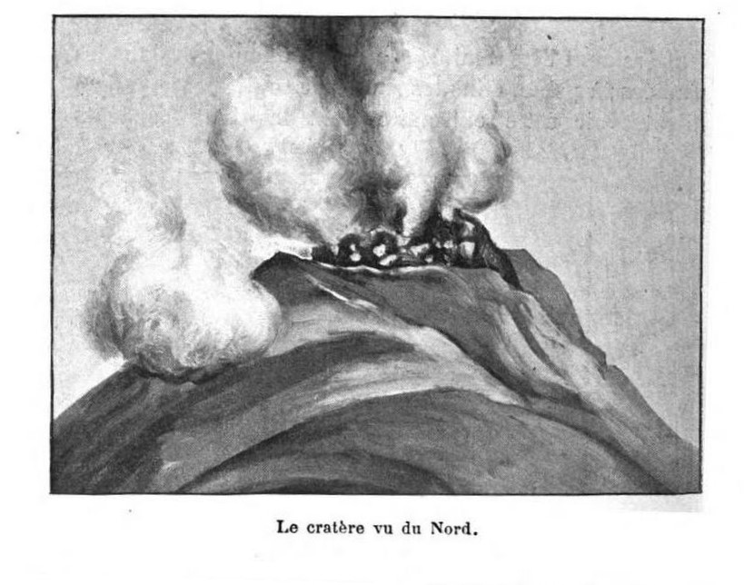 1902 Jean Hess drawing of Mount Pelee in eruption