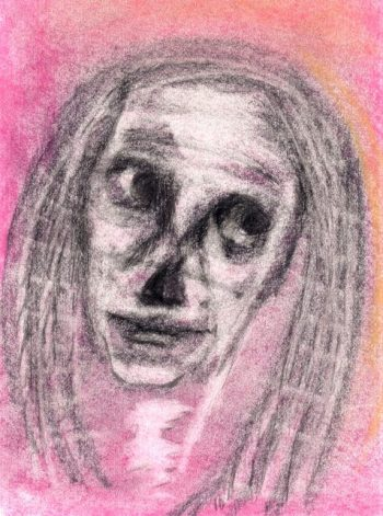 pastel drawing woman with skull-like face feeling skeptical art for poem Like Hell