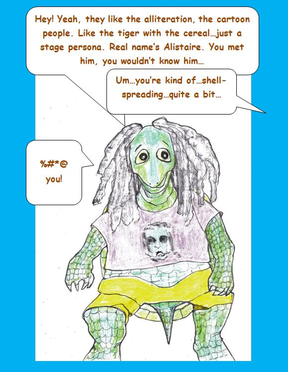 Cartoon of turtle with dreadlocks and Alice Cooper t-shirt