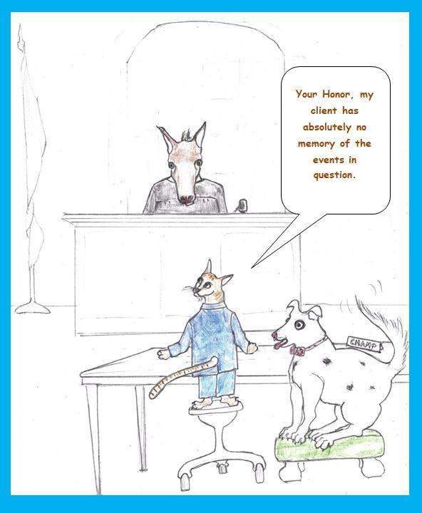 Cartoon of cat defending dog in court