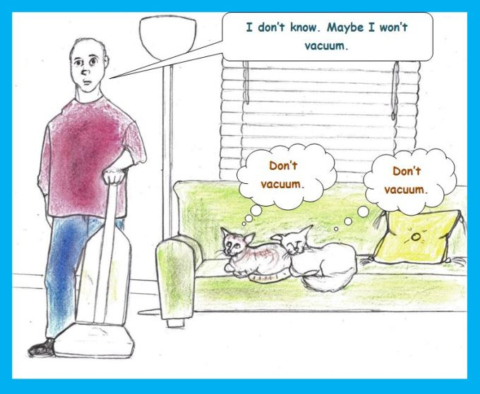 Cartoon of cats telepathically asking owner not to vacuum