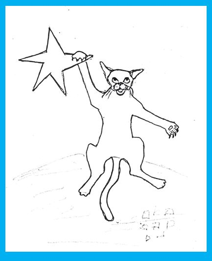 Cartoon of cat hanging in there on a star