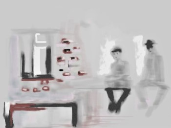 Digital painting of two interrogators sitting on table