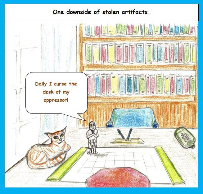 Cartoon of stolen artifact cursing purchaser