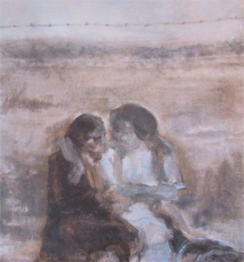 Oil painting couple half-embracing before field and barbed-wire