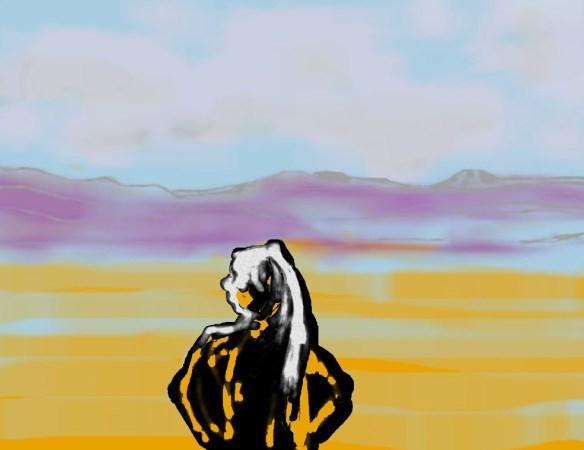 Digital art of woman before southwestern landscape
