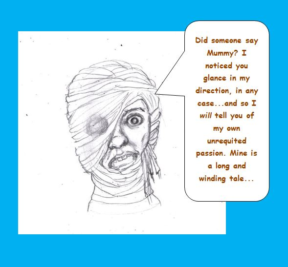 Cartoon of Mummy telling personal story